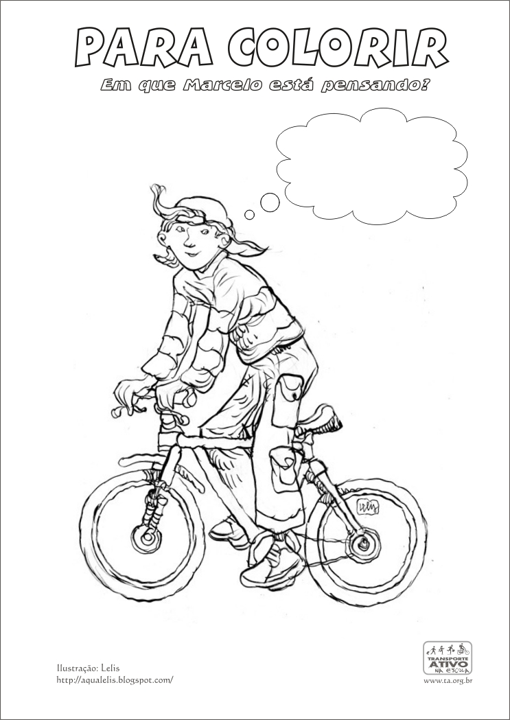 para colorir - menino de bicicleta - coloring page boy riding a bicycle